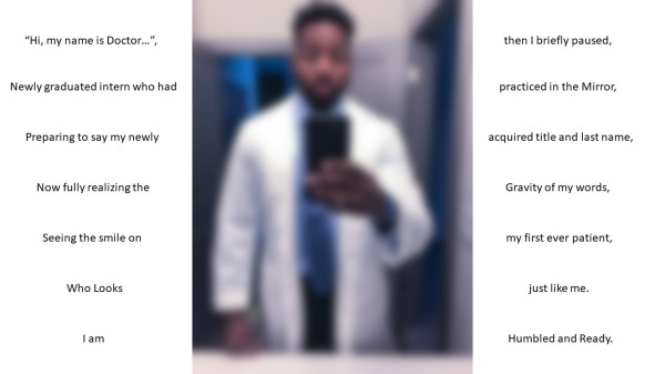 This is a blurry image of the author of the poem that wraps on both sides of the image.