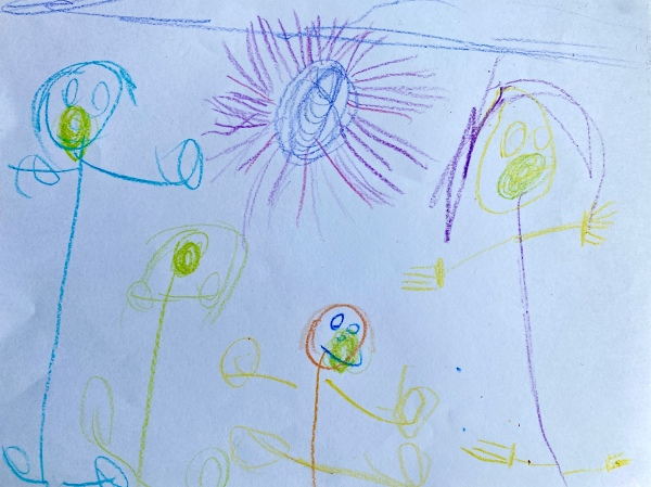 This is an image of child's stick figure drawing of her family with a sun in the sky.
