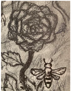sketch of a flower and a honeybee